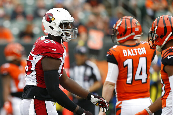 Arizona Cardinals linebacker Chandler Jones (55) reacts in the second half of an NFL football game against the Cincinnati Bengals, Sunday, Oct. 6, 2019, in Cincinnati. (AP Photo/Gary Landers)
