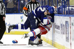Tampa Bay Lightning defenseman Luke Schenn (2) slams New York Rangers center Micheal Haley (38) into the boards as they fight during the second period of an NHL hockey game Thursday, Nov. 14, 2019, in Tampa, Fla. (AP Photo/Chris O'Meara)