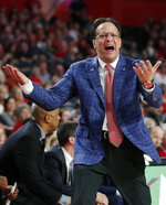 Georgia head coach Tom Crean reacts after a call during the first half of an NCAA college basketball game against LSU, Saturday, Feb. 16, 2019, in Athens, Ga. (AP Photo/John Bazemore)