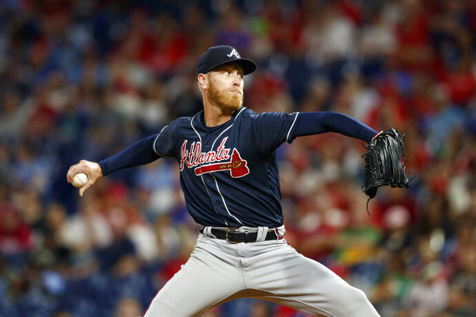 Atlanta Braves' Mike Foltynewicz pitches during the second inning of a baseball game against the Philadelphia Phillies, Monday, Sept. 9, 2019, in Philadelphia. (AP Photo/Matt Slocum)