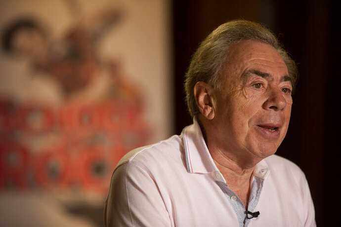 FILE - In this file photo dated Thursday, May 3, 2018, Andrew Lloyd Webber is interviewed at Hollywood Pantages Theatre in Los Angeles, USA.