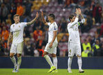 Real Madrid players celebrate at the end of the Champions League group A soccer match between Galatasaray and Real Madrid in Istanbul, Tuesday, Oct. 22, 2019. (AP Photo)