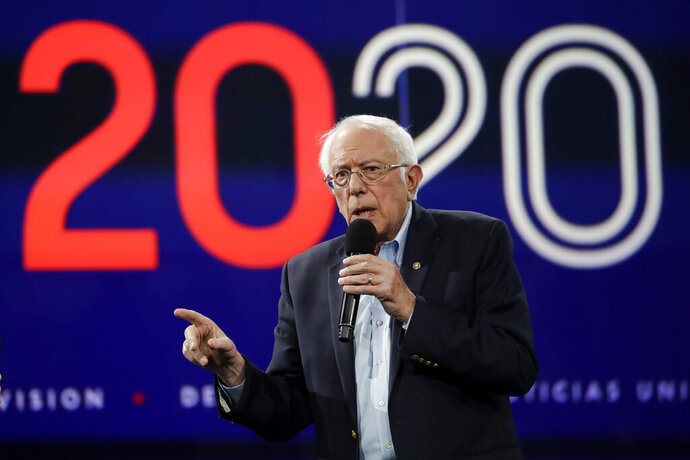 In this Nov. 16, 2019, photo Democratic presidential candidate Sen. Bernie Sanders, I-Vt., speaks during a presidential forum at the California Democratic Party's convention in Long Beach, Calif. (AP Photo/Chris Carlson)