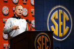 Tennessee head coach Rick Barnes speaks during the Southeastern Conference NCAA college basketball media day, Wednesday, Oct. 16, 2019, in Birmingham, Ala. (AP Photo/Butch Dill)