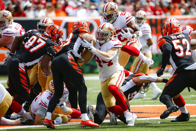 San Francisco 49ers running back Matt Breida (22) runs the ball during the first half an NFL football game against the Cincinnati Bengals, Sunday, Sept. 15, 2019, in Cincinnati. (AP Photo/Frank Victores)