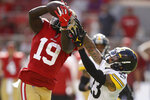 San Francisco 49ers wide receiver Deebo Samuel (19) cannot catch a pass in front of Pittsburgh Steelers cornerback Joe Haden during the second half of an NFL football game in Santa Clara, Calif., Sunday, Sept. 22, 2019. (AP Photo/Ben Margot)