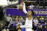 Washington forward Nate Roberts dunks against Southern California during the first half of an NCAA college basketball game, Sunday, Jan. 5, 2020, in Seattle. (AP Photo/Ted S. Warren)