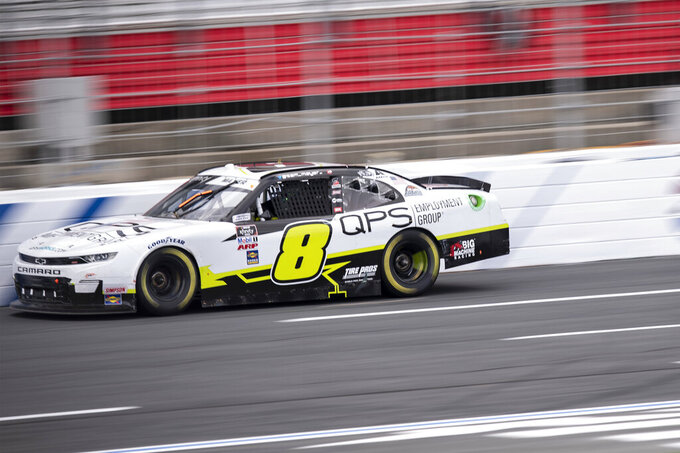 NASCAR Xfinity Series driver Sam Mayer (8) races during the NASCAR Xfinity auto racing race at the Charlotte Motor Speedway Sunday, Oct. 10, 2021, in Concord, N.C. (AP Photo/Matt Kelley)
