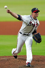 Atlanta Braves starting pitcher Charlie Morton works against the St. Louis Cardinals during the seventh inning of a baseball game Thursday, June 17, 2021, in Atlanta. Morton to a no-hitter into the seventh. (AP Photo/John Bazemore)