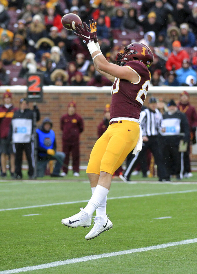 Minnesota tight end Jake Paulson catches a touchdown pass against Purdue in the second quarter of an NCAA college football game Saturday, Nov. 10, 2018, in Minneapolis. (AP Photo/Andy Clayton-King)