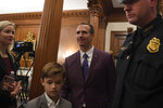 New Orleans Saints quarterback Drew Brees visits Capitol Hill in Washington, Wednesday, Jan. 15, 2020. Brees spoke at a Congressional Gold Medal ceremony for former NFL player Steve Gleason. (AP Photo/Susan Walsh)