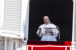 "Pope Francis speaks during the Angelus prayer from his studio window overlooking St. Peter's Square at the Vatican, Sunday, July 5, 2020. Pope Francis is assuring his closeness to all those grappling with COVID-19 and its ""economic and social consequences."" Speaking on Sunday from his studio window overlooking St. Peter's Square, Francis remarked that, currently, ""the pandemic is showing no sign of stopping.""(AP Photo/Riccardo De Luca)"