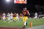 Southern California running back Stephen Carr (7) scores a rushing touchdown against Stanford during the first half of an NCAA college football game Saturday, Sept. 7, 2019, in Los Angeles. (AP Photo/Marcio Jose Sanchez)