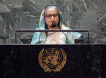 Sheikh Hasina, Prime Minister of Bangladesh addresses the 76th Session of the U.N. General Assembly at United Nations headquarters in New York, on Friday, Sept. 24, 2021.  (John Angelillo /Pool Photo via AP)
