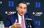 Duke's Mike Krzyzewski speaks during an NCAA college basketball media day at Cameron Indoor Stadium in Durham, N.C., Monday, Sept. 23, 2019. (Ethan Hyman/The News & Observer via AP)