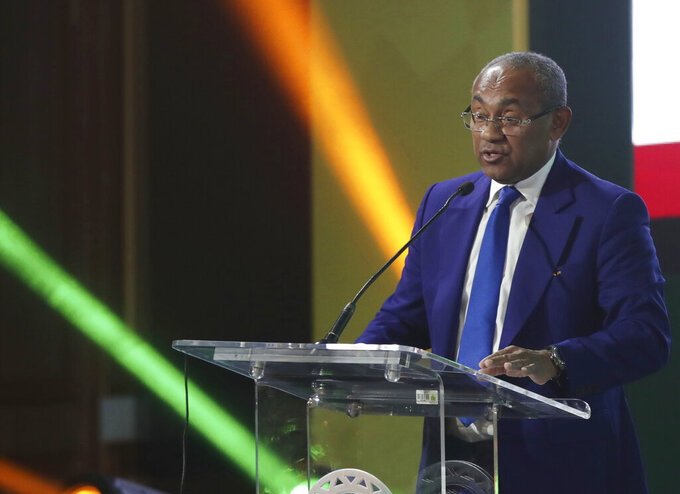 FILE - In this file photo dated Thursday, July 18, 2019, Confederation of African Football president Ahmad Ahmad of Madagascar speaks during the Confederation of African Football general assembly in Cairo, Egypt. Ahmad Ahmad has tested positive for the coronavirus Friday Oct. 30, 2020, and has begun self-isolating at a hotel in Cairo on Friday. (AP Photo/Hassan Ammar, FILE)