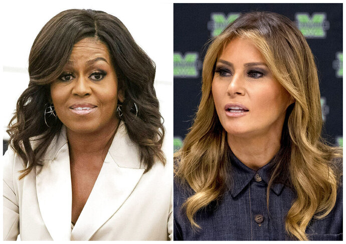 This combination photo shows former first lady Michelle Obama, left, and current first lady Melania Trump. The website NowThis has attracted attention with videos that illustrate inconsistencies by Fox News personalities, like one posted Tuesday, July 23, 2019, that contrasts the news network's treatment of Obama and Trump. (AP Photo)