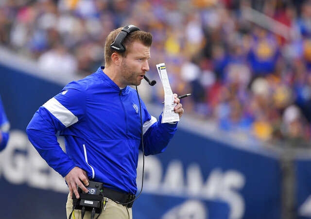 FILE - In this Dec. 29, 2019, file photo, Los Angeles Rams coach Sean McVay stands on the sideline during the first half of the team's NFL football game against the Arizona Cardinals n Los Angeles. McVay wrapped up the Rams' virtual offseason program this week. He could have kept going for another two weeks, but the head coach feels the Rams got plenty of work done in this unusual NFL spring. He still hasn't seen most of his players in person this spring, and he doesn't know when he'll see them next. (AP Photo/Mark J. Terrill, File)