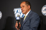 Atlantic Coast Conference Commissioner Jim Phillips speaks during NCAA college basketball ACC media day, Tuesday, Oct. 12, 2021, in Charlotte, N.C. (AP Photo/Matt Kelley)