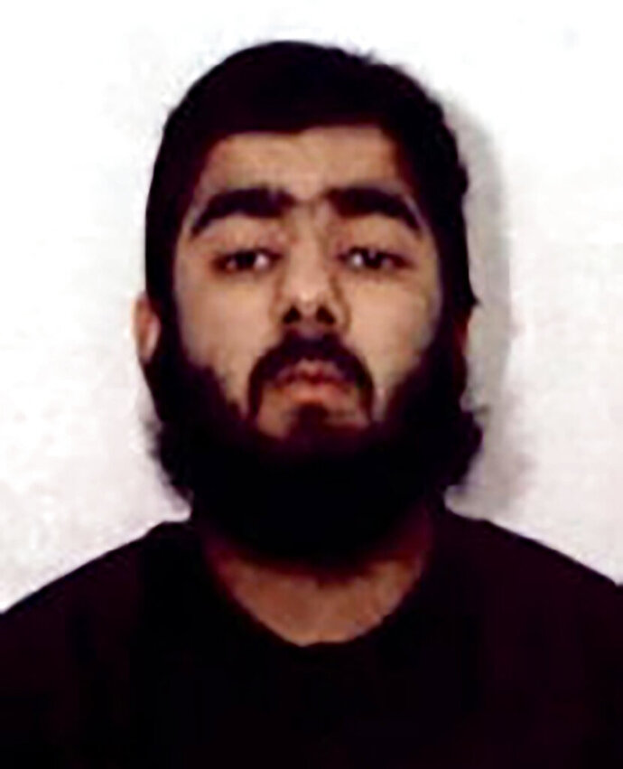 This undated photo provided by West Midlands Police shows Usman Khan. UK counterterrorism police are searching for clues into an attack that left two people dead and three injured near London Bridge.  Police said Saturday, Nov. 30, 2019, Khan, who was imprisoned six years for terrorism offenses before his release last year stabbed several people in London on Friday, Nov. 29,  before being tackled by members of the public and shot dead by officers on the London Bridge. (West Midlands Police via AP)