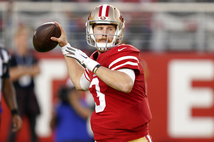 San Francisco 49ers quarterback C.J. Beathard (3) throws a pass against the Los Angeles Chargers during the first half of an NFL preseason football game in Santa Clara, Calif., Thursday, Aug. 29, 2019. (AP Photo/Tony Avelar)