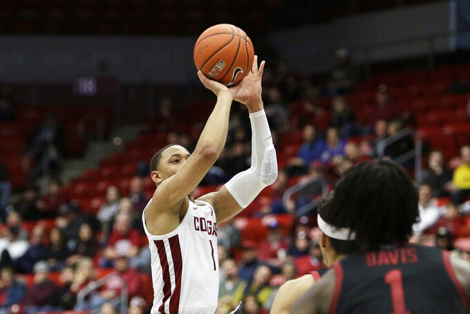 Washington State guard Jervae Robinson (1) shoots during the second half of an NCAA college basketball game against Stanford in Pullman, Wash., Sunday, Feb. 23, 2020. Stanford won 75-57. (AP Photo/Young Kwak)