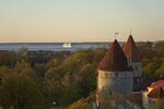 A ferry departs from Estonia's capital Tallinn as the sun sets over the Baltic state's medieval town, Wednesday May 15, 2019. Online voting in the European elections has begun in Estonia, the only country in the world to allow internet voting for the entire electorate, in every election. (AP Photo/David Keyton)