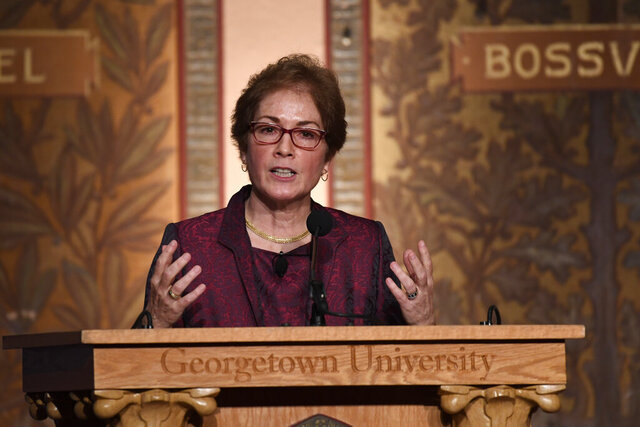 Former Ambassador to Ukraine Marie Yovanovitch speaks at Georgetown University in Washington, Wednesday, Feb. 12, 2020. She was awarded the 2020 J. Raymond