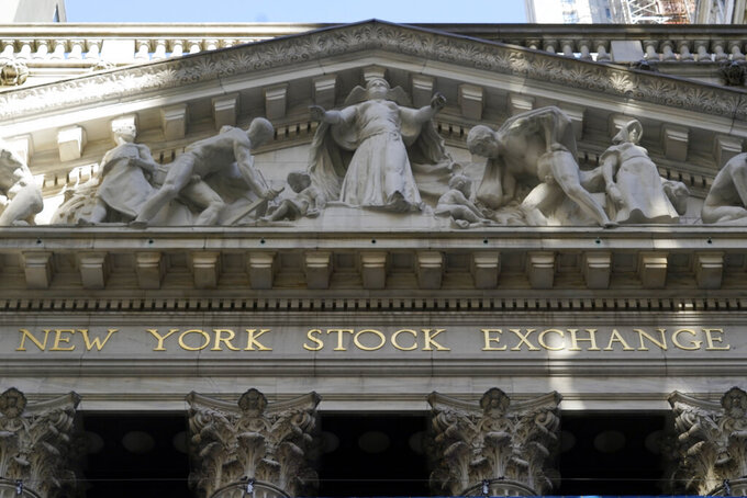 FILE - In this June 16, 2021 file photo, the facade of the New York Stock Exchange.  Stocks are opening mostly higher on Wall Street Friday, Aug. 6,  and Treasury yields are rising after the government reported that hiring rose in the U.S. last month at a faster rate than economists were expecting.  (AP Photo/Richard Drew, File)