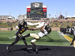 Vanderbilt wide receiver Kalija Lipscomb, right, pulls down a touchdown reception in front of Missouri defensive back DeMarkus Acy, left, during the second half of an NCAA college football game Saturday, Nov. 10, 2018, in Columbia, Mo. (AP Photo/L.G. Patterson)