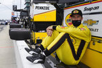 Scott McLaughlin, of New Zealand, waits by his pit box during practice for the Indianapolis 500 auto race at Indianapolis Motor Speedway, Wednesday, May 19, 2021, in Indianapolis. (AP Photo/Darron Cummings)