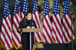 U.S. Rep. Elise Stefanik, R-N.Y., introduces Vice President Mike Pence and second lady Karen Pence to speak to Army 10th Mountain Division soldiers, many of whom have recently returned from Afghanistan, in Fort Drum, N.Y., Sunday, Jan. 17, 2021. (AP Photo/Adrian Kraus)
