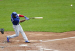 Toronto Blue Jays' Teoscar Hernandez (37) hits a two-run home run during the fourth inning of a baseball game against the New York Mets Wednesday, May 16, 2018, in New York. (AP Photo/Frank Franklin II)