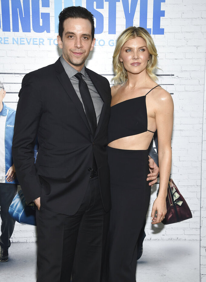 "FILE - In this March 30, 2017, file photo, actor Nick Cordero, left, and Amanda Kloots attend the premiere of ""Going in Style"" in New York. Tony Award-nominated actor Cordero, who specialized in playing tough guys on Broadway in such shows as ""Waitress,"" ""A Bronx Tale"" and ""Bullets Over Broadway,"" has died in Los Angeles after suffering severe medical complications after contracting the coronavirus. He was 41. Cordero died Sunday, July 5, 2020, at Cedars-Sinai hospital after more than 90 days in the hospital, according to his wife, Amanda Kloots. (Photo by Evan Agostini/Invision/AP, File)"