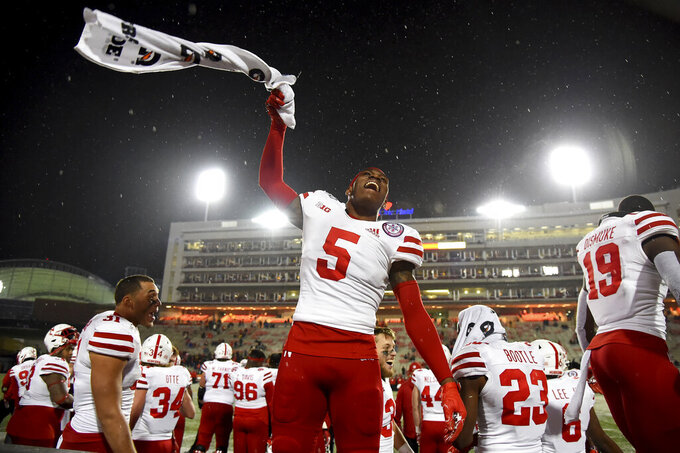 Nebraska cornerback Cam Taylor-Britt (5) celebrates during the remaining seconds of the second half of an NCAA college football game against Maryland, Saturday, Nov. 23, 2019, in College Park, Md. (AP Photo/Will Newton)