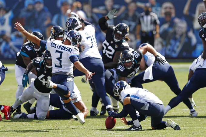 Tennessee Titans kicker Stephen Gostkowski (3) kicks a 51-yard field goal against the Jacksonville Jaguars in the first half of an NFL football game Sunday, Sept. 20, 2020, in Nashville, Tenn. (AP Photo/Wade Payne)