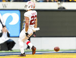 Stanford running back Cameron Scarlett scores a touchdown against California in the fourth quarter of a football game in Berkeley, Calif., Saturday, Dec. 1, 2018. (AP Photo/John Hefti)