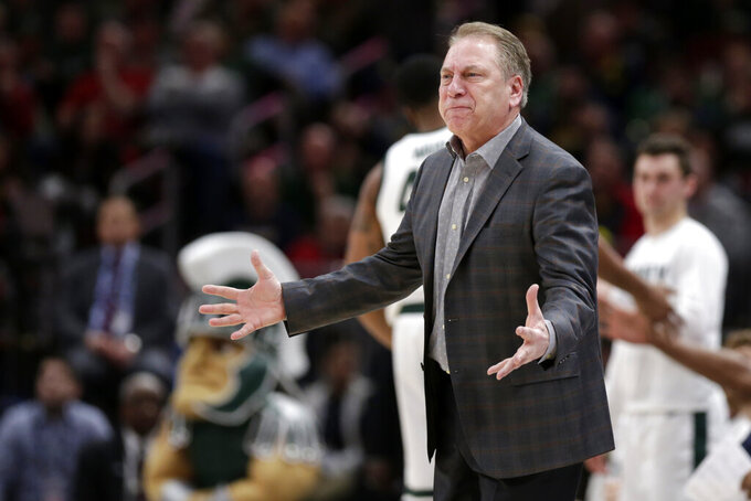 Michigan State head coach Tom Izzo argues a call during the second half of an NCAA college basketball game against Wisconsin in the semifinals of the Big Ten Conference tournament, Saturday, March 16, 2019, in Chicago. (AP Photo/Kiichiro Sato)