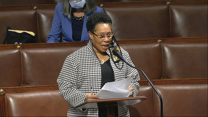 In this image from video, Rep. Marcia Fudge, D-Ohio, speaks on the floor of the House of Representatives at the U.S. Capitol in Washington, Thursday, April 23, 2020. Two Democratic women are contenders to be President-elect Joe Biden's secretary of agriculture. Rep. Marcia Fudge of Ohio and former Sen. Heidi Heitkamp of North Dakota are in the running for the Cabinet position. (House Television via AP)