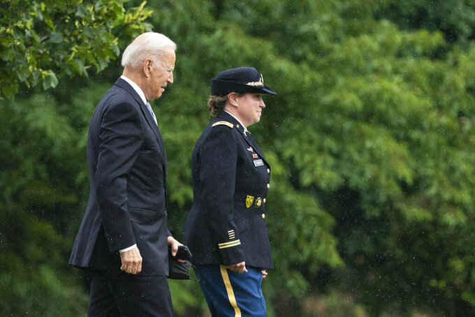 President Joe Biden walks to board Marine One as he leaves Fort Lesley J. McNair in Washington, Monday, Aug. 16, 2021, en route to Camp David after addressing the nation from the White House about Afghanistan. (AP Photo/Manuel Balce Ceneta)