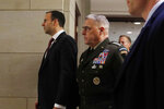Gen. Mark Milley, the chairman of the Joint Chiefs of Staff, arrives to brief Senators on the details of the threat that prompted the U.S. in the targeted killing of Iranian Gen. Qassem Soleimani in Iraq, Wednesday, Jan. 8, 2020 on Capitol Hill in Washington. (AP Photo/ Jacquelyn Martin)