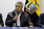 Ecuadorian President Lenin Moreno speaks during negotiations with anti-government protesters in Quito, Ecuador, Sunday, Oct. 13, 2019. The government and indigenous protesters started negotiations aimed at defusing more than a week of demonstrations that have paralyzed the nation's economy. (AP Photo/Fernando Vergara)