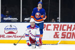 New York Islanders Matt Martin (17) reacts to a penalty called on him involving New York Rangers' Kevin Rooney (17) during the second period of an NHL hockey game Sunday, April 11, 2021, in Uniondale, N.Y. (AP Photo/Frank Franklin II)