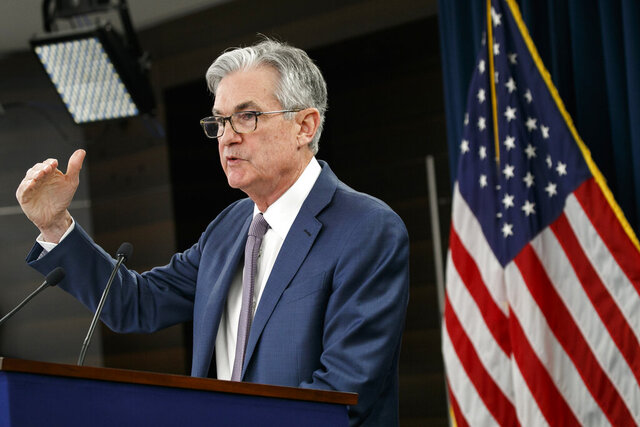 "FILE - In this March 3, 2020 file photo, Federal Reserve Chair Jerome Powell speaks during a news conference to discuss an announcement from the Federal Open Market Committee, in Washington. The Federal Reserve will issue the first loans under its groundbreaking Main Street Lending program in a ""few days,""  Powell said Friday, May 29.  (AP Photo/Jacquelyn Martin)"