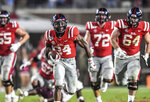 Mississippi running back Snoop Conner (24) carries during the team's NCAA college football game against Texas A&M on Saturday, Oct. 19, 2019, in Oxford, Miss,(Bruce Newman/The Oxford Eagle via AP)