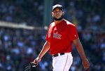 Boston Red Sox's Eduardo Rodriguez walks toward the dugout after he was relieved in the sixth inning of a baseball game against the Tampa Bay Rays, Sunday, June 9, 2019, in Boston. (AP Photo/Steven Senne)