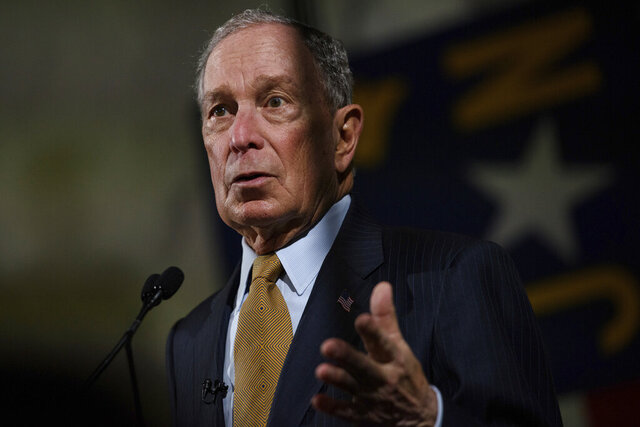 Democratic presidential candidate Michael Bloomberg talks to supporters during a campaign appearance, Friday, Jan. 3, 2020 in Fayetteville, N.C. (Andrew Craft/The Fayetteville Observer via AP)