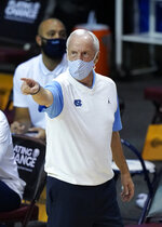 North Carolina coach Roy Williams gestures during the first half against Stanford in an NCAA college basketball game in the semifinals of the Maui Invitational, Tuesday, Dec. 1, 2020, in Asheville, N.C. (AP Photo/Kathy Kmonicek)