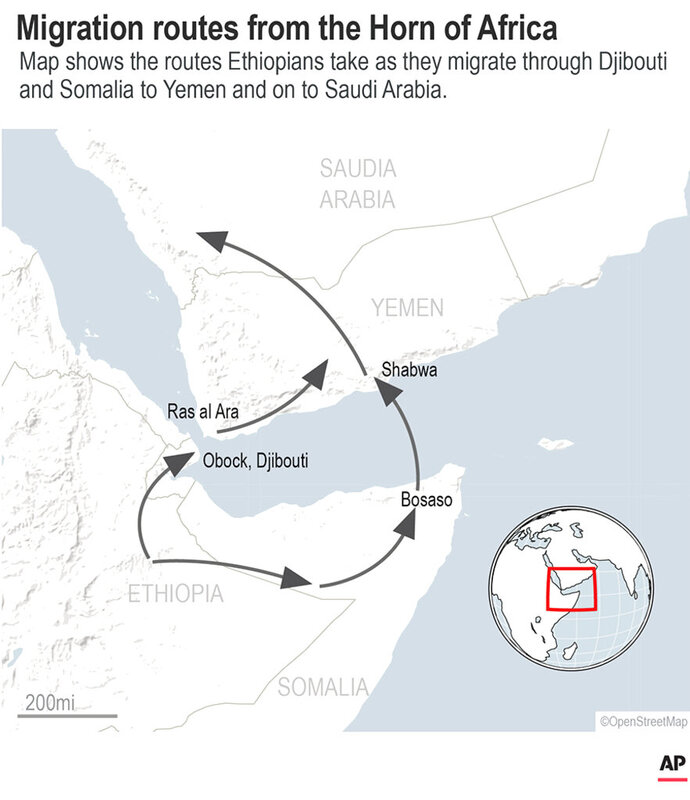 Migration routes Ethiopians take to Yemen and on to Saudia Arabia.;