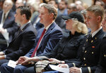Former Indiana Governor and Sen. Evan Bayh and his wife, Susan, are joined by hundreds of mourners gathered at a memorial service honoring his father, former U.S. Sen. Birch Bayh, at the Indiana Statehouse in Indianapolis, Wednesday, May 1, 2019. Bayh died in March at the age of 91. The Democrat represented Indiana in the Senate for 18 years until he lost his 1980 re-election bid.(AP Photo/Michael Conroy)